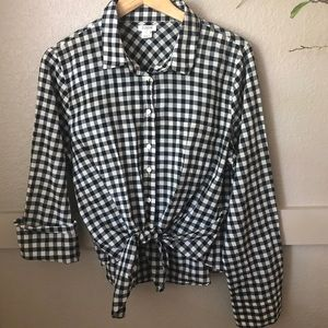 J Crew Factory black and white gingham tie blouse